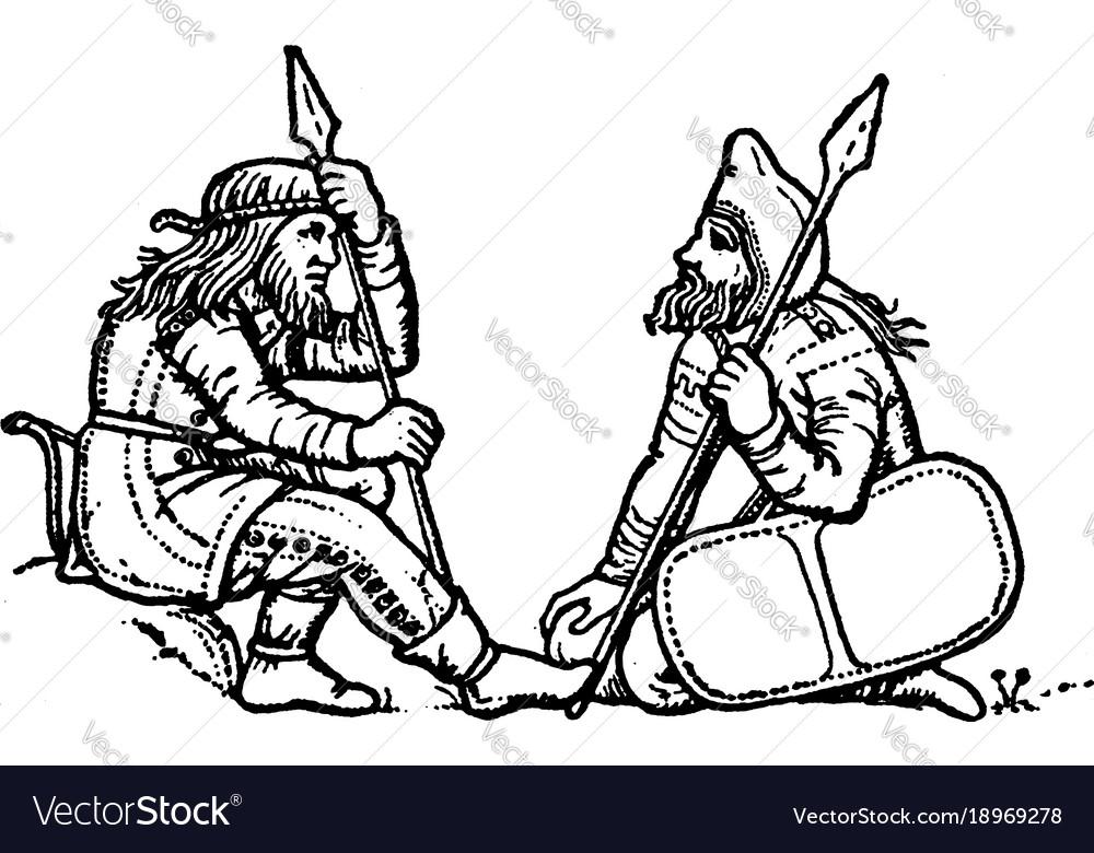 Scythians on a greek vase are kneeling and