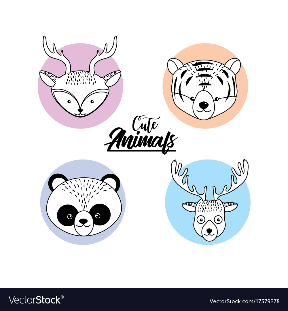 Set cute animal and natural wildlife