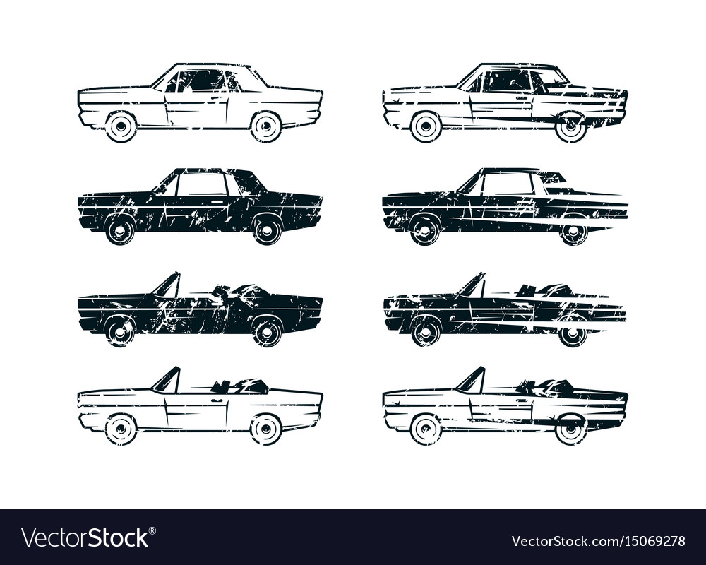 Set of retro car silhouettes vector image