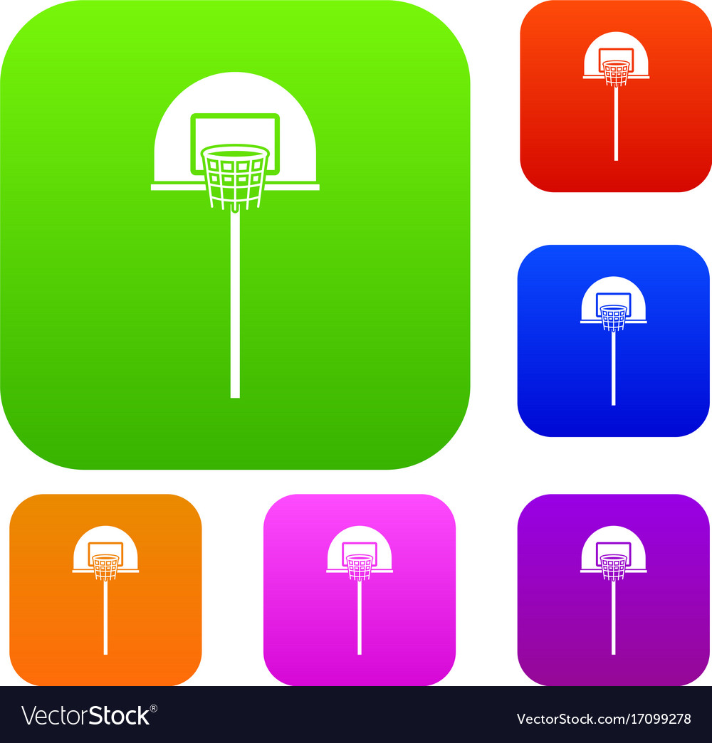Street basketball hoop set collection vector image