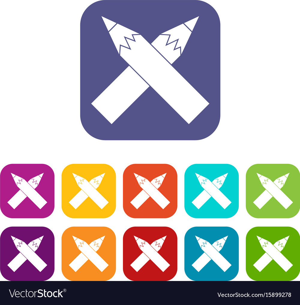 Two crossed pencils icons set vector image