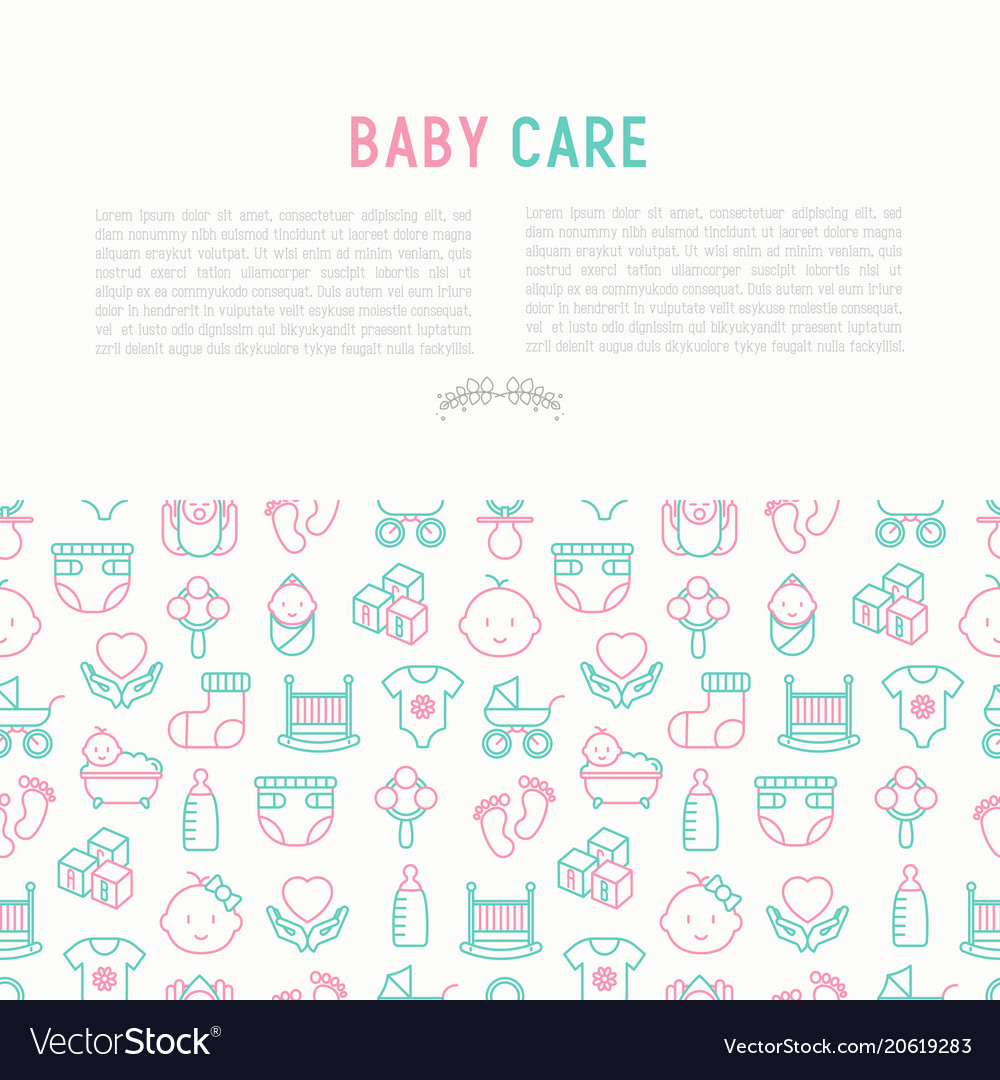 Baby care concept with thin line icons
