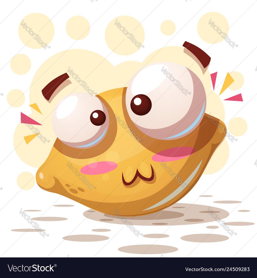 Crazy cute lemon - cartoon