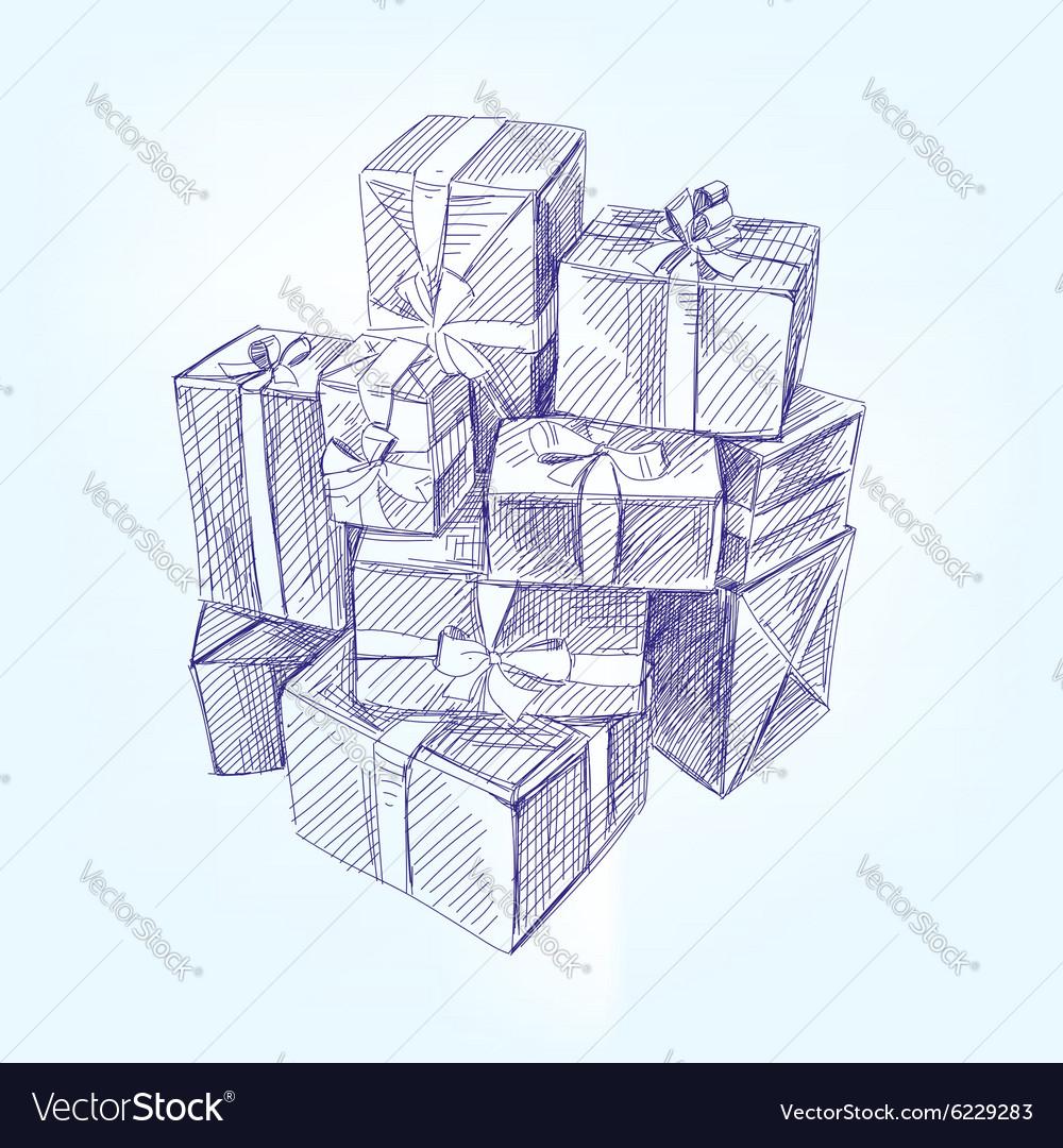 Gift box hand drawn llustration realistic vector image