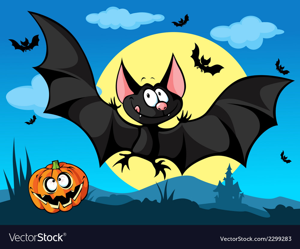 Halloween picture with pumpkin cute bats and moon vector image