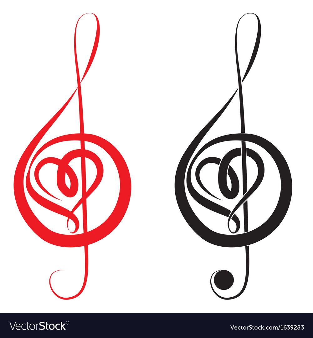 heart of treble clef and bass clef royalty free vector image rh vectorstock com treble bass heart necklace treble bass heart svg