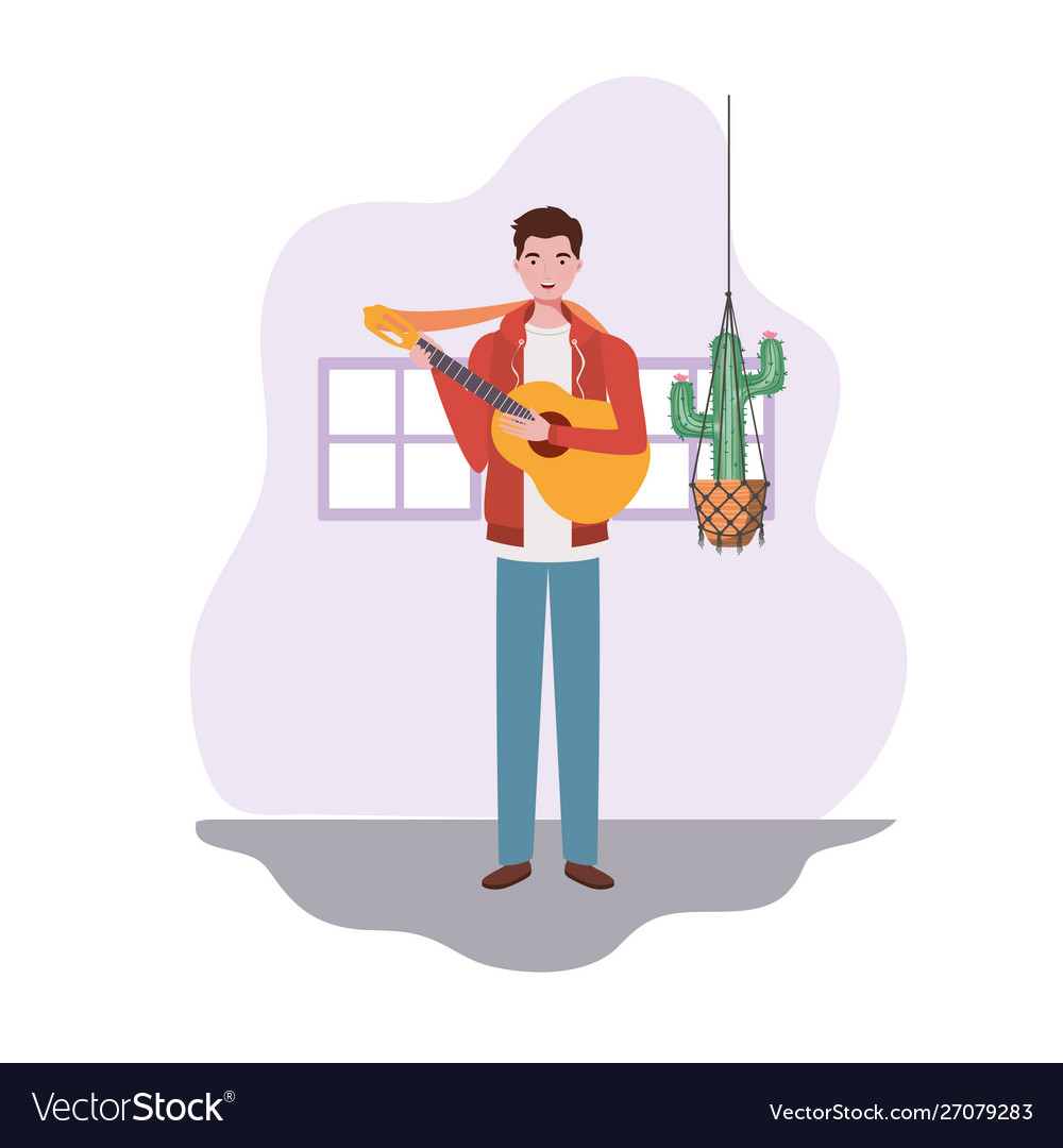 Man with acoustic guitar and houseplants on