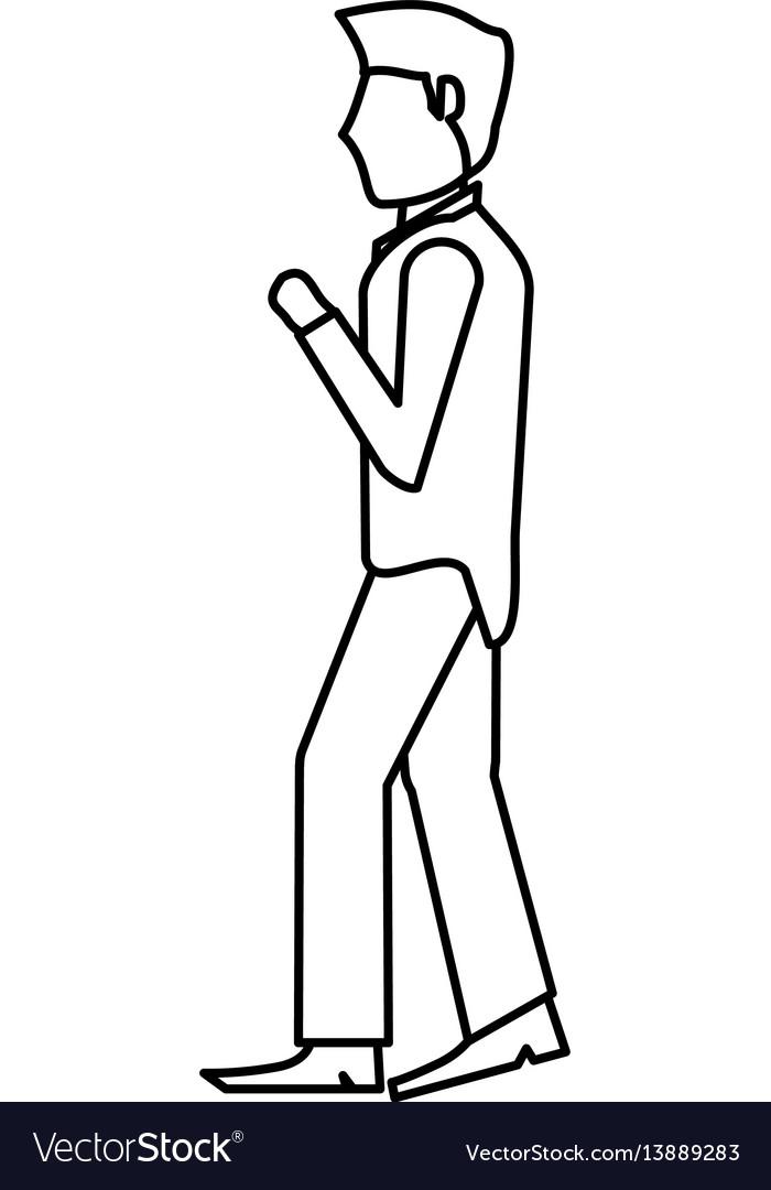 Portrait groom man outline