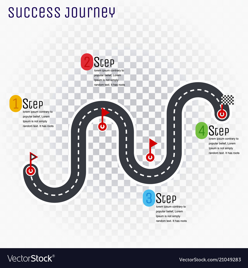 Road route infographic line with step-by-step plan