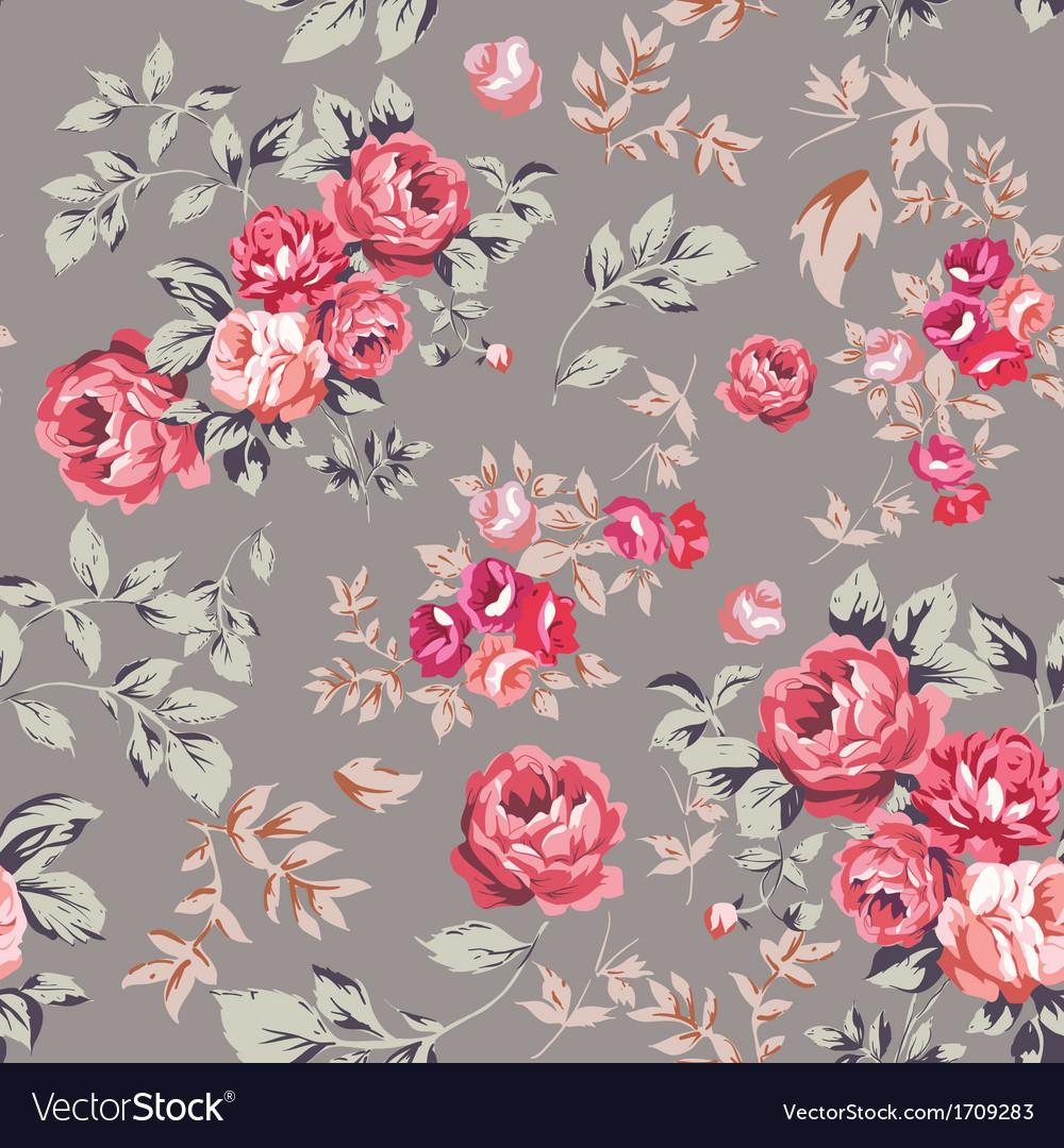 Rose Seamless Pattern Pink Brown vector image
