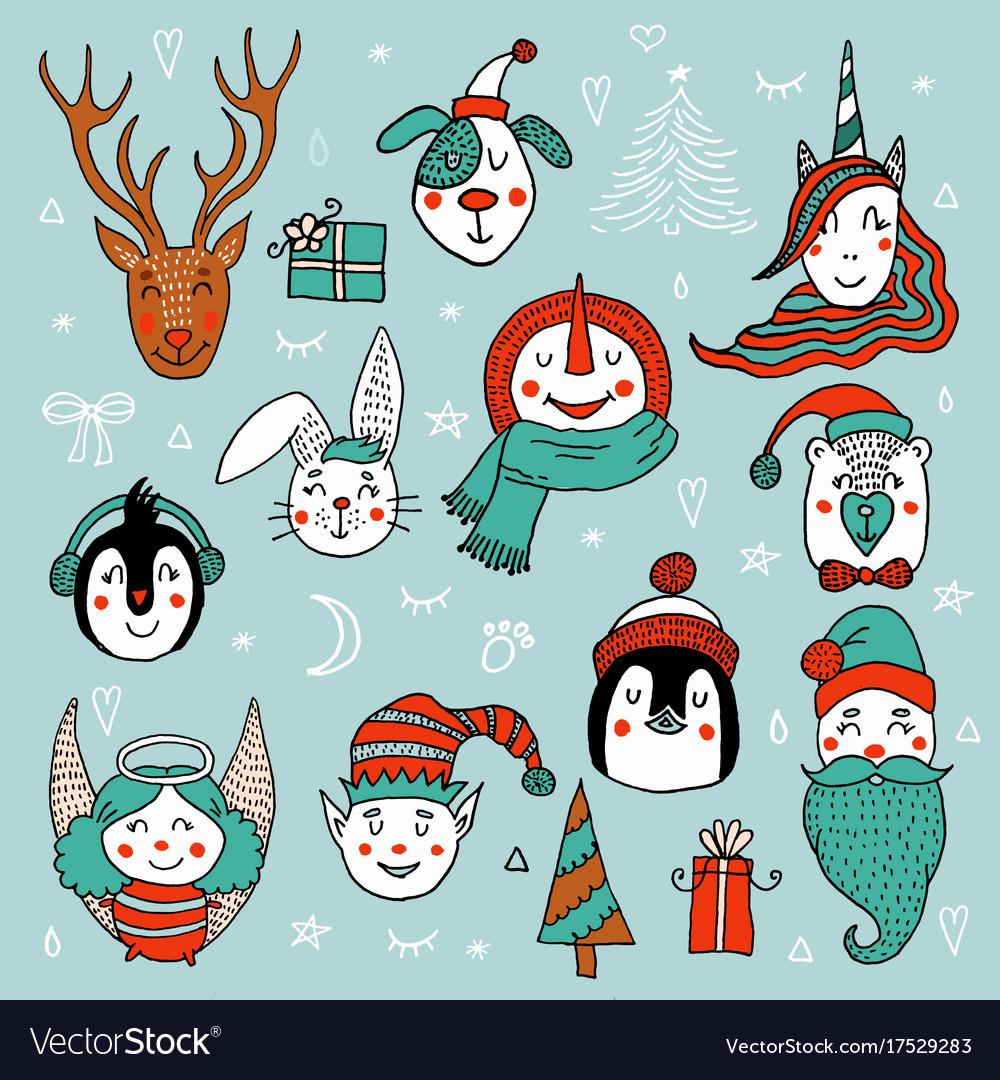 Set of cute cartoon christmas characters