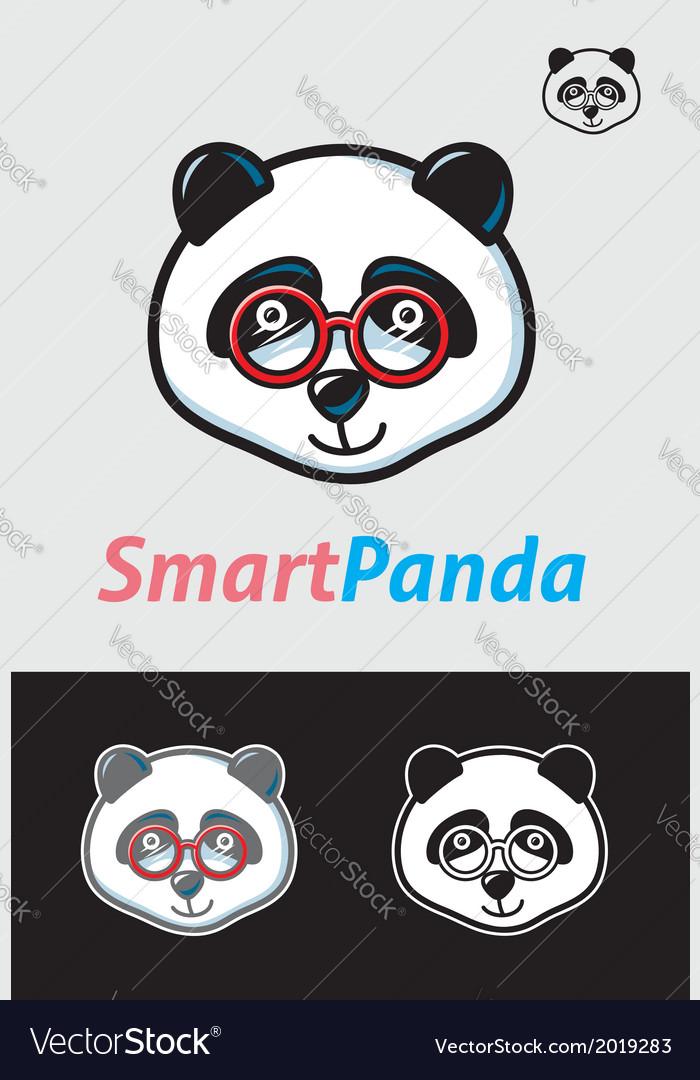 Smart Panda Geek Symbol Royalty Free Vector Image
