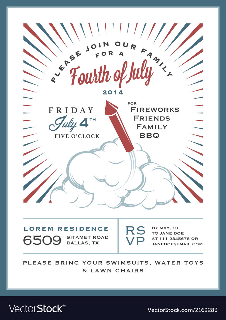 Vintage 4th of July Independence Day invitation