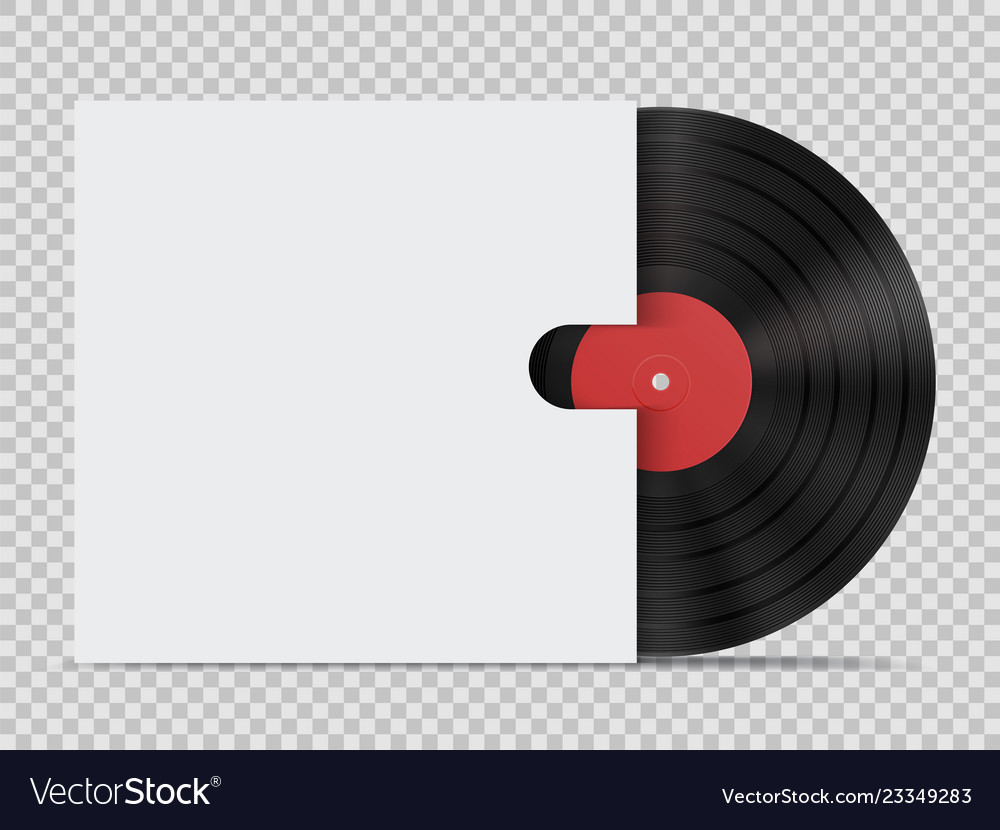 Vinyl record with cover in realistic style