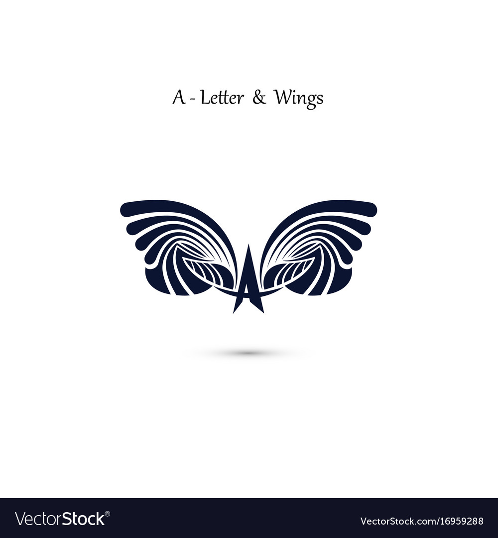 A letter sign and angel wings monogram wing logo