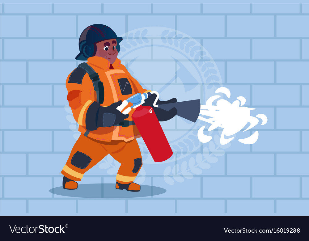 African american fireman hold extinguisher wearing