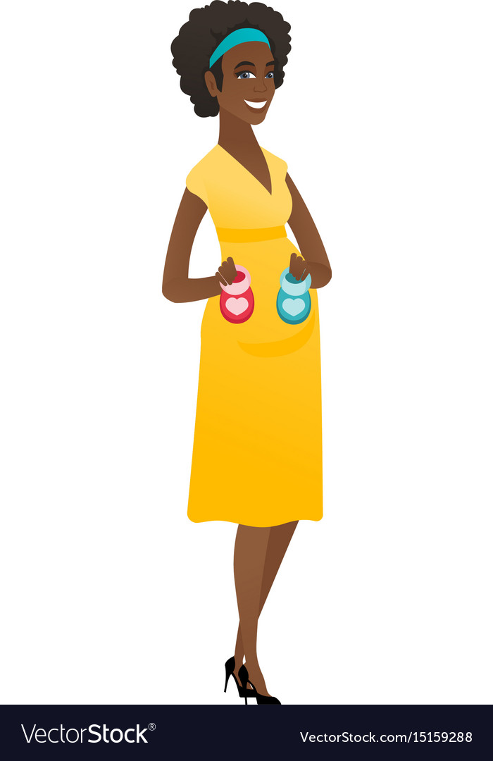 African pregnant woman holding baby booties