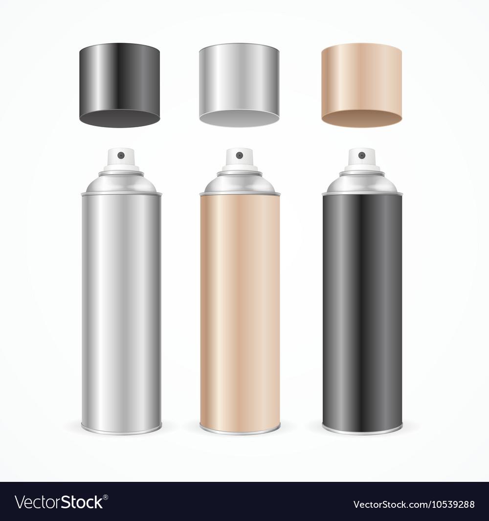 Aluminium Spray Can Template Blank Color Set vector image
