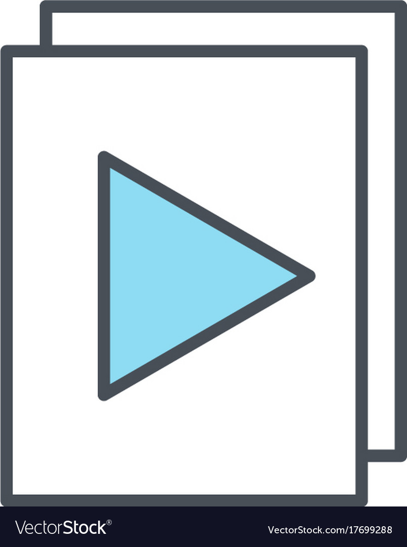 Audio or video files with plat button line icon