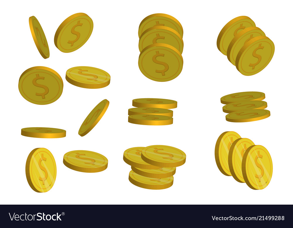 Coins stack flat pile money