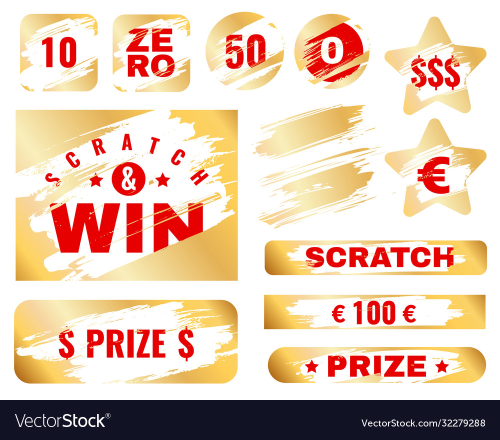 Golden scratch card lottery cover for instant