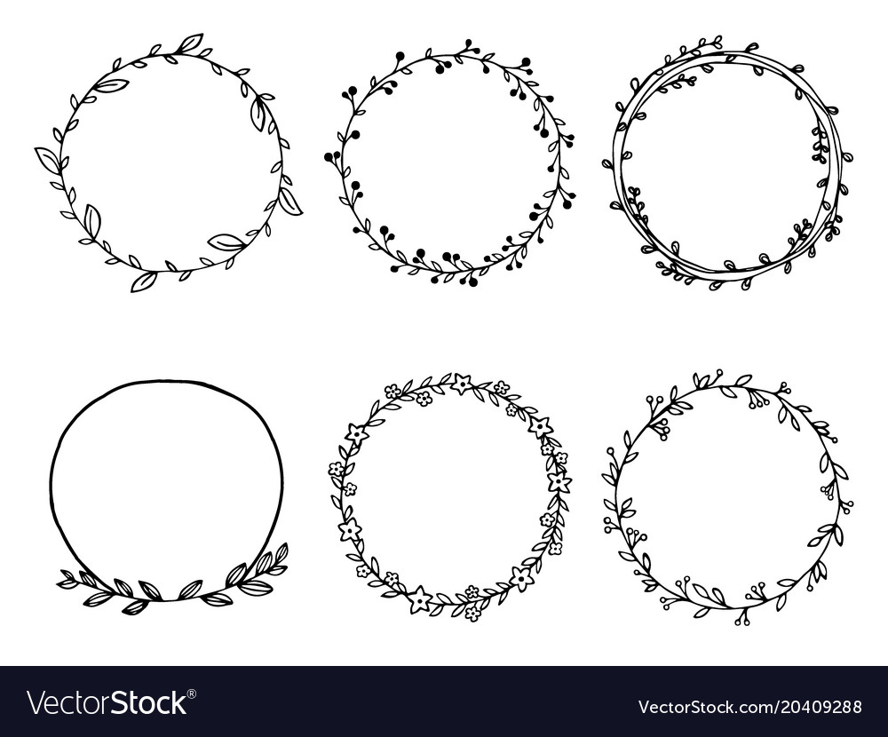 Hand drawn of wreath set design floral leave for