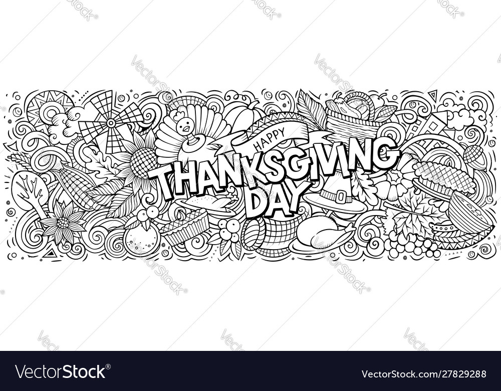 Happy thanksgiving hand drawn cartoon doodles