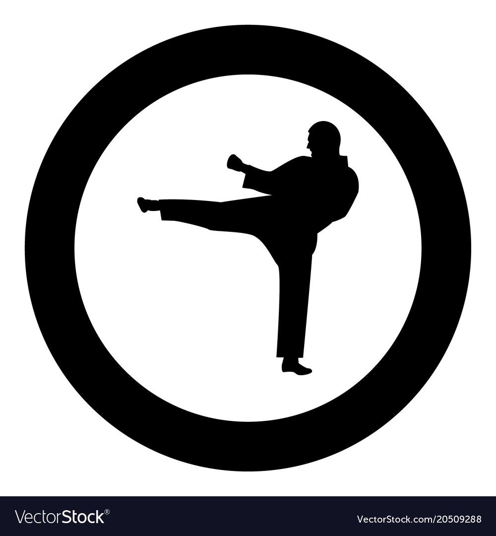 Karate Man Icon Black Color In Circle Royalty Free Vector