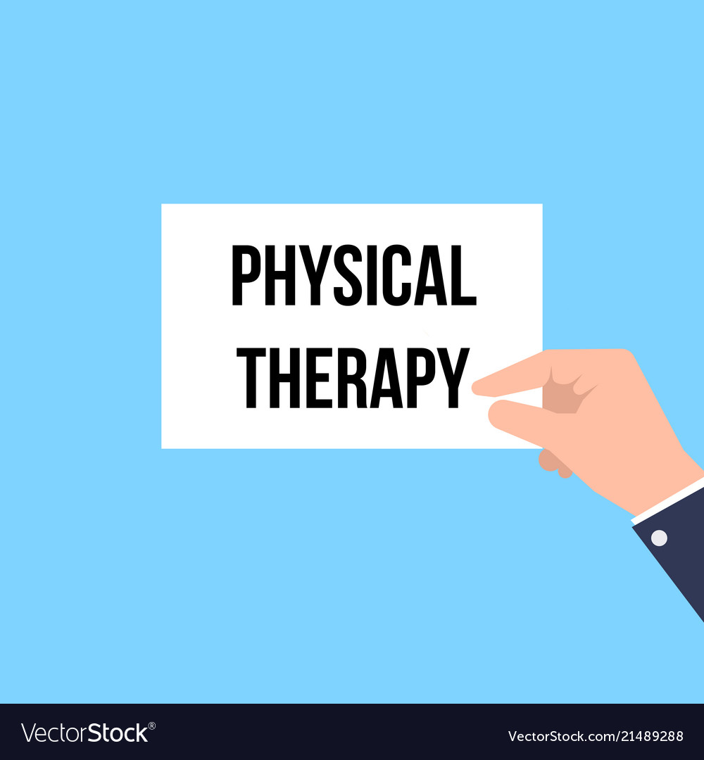 Man showing paper physical therapy text