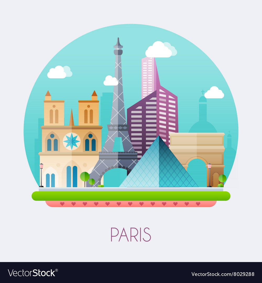 Paris Skyline and landscape of buildings and