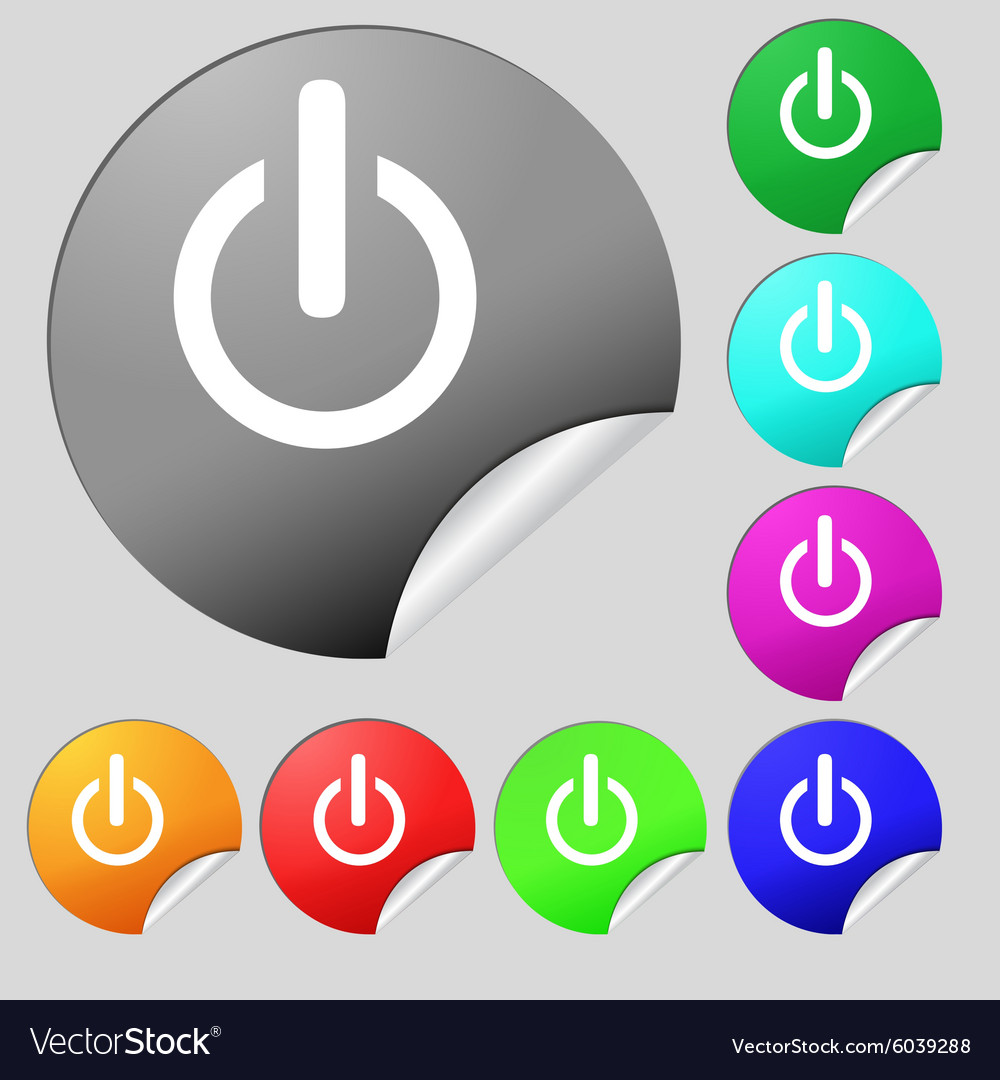 Power sign icon Switch symbol Set of eight multi Vector Image