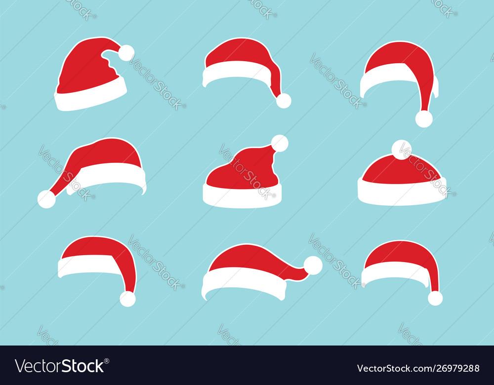 Santa claus hat flat set realistic santa claus