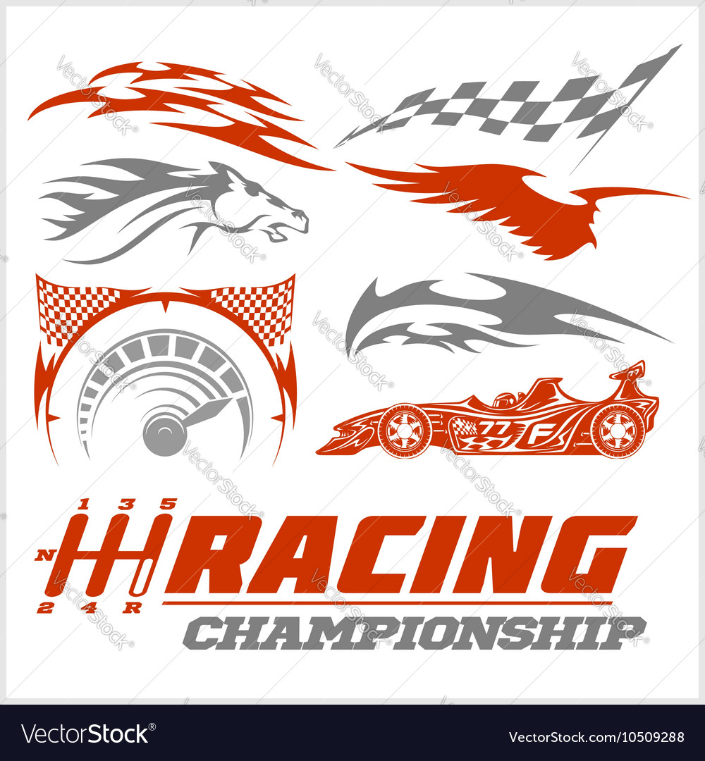 Set of racing stickers monochrome vector image