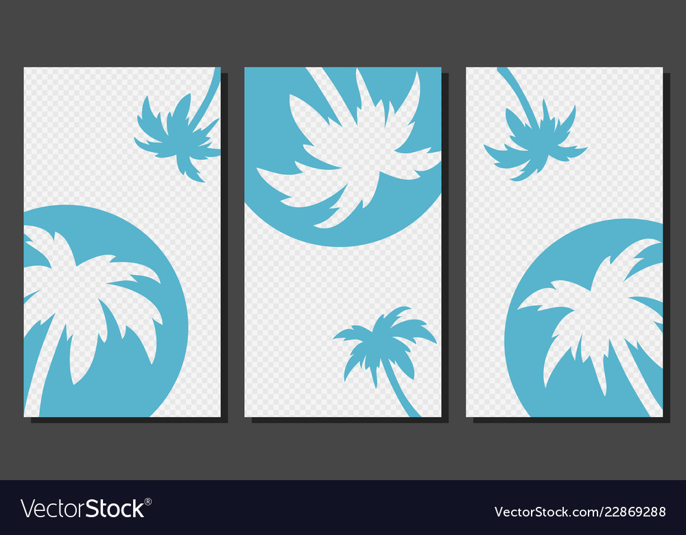 Social media stories templates with palm trees