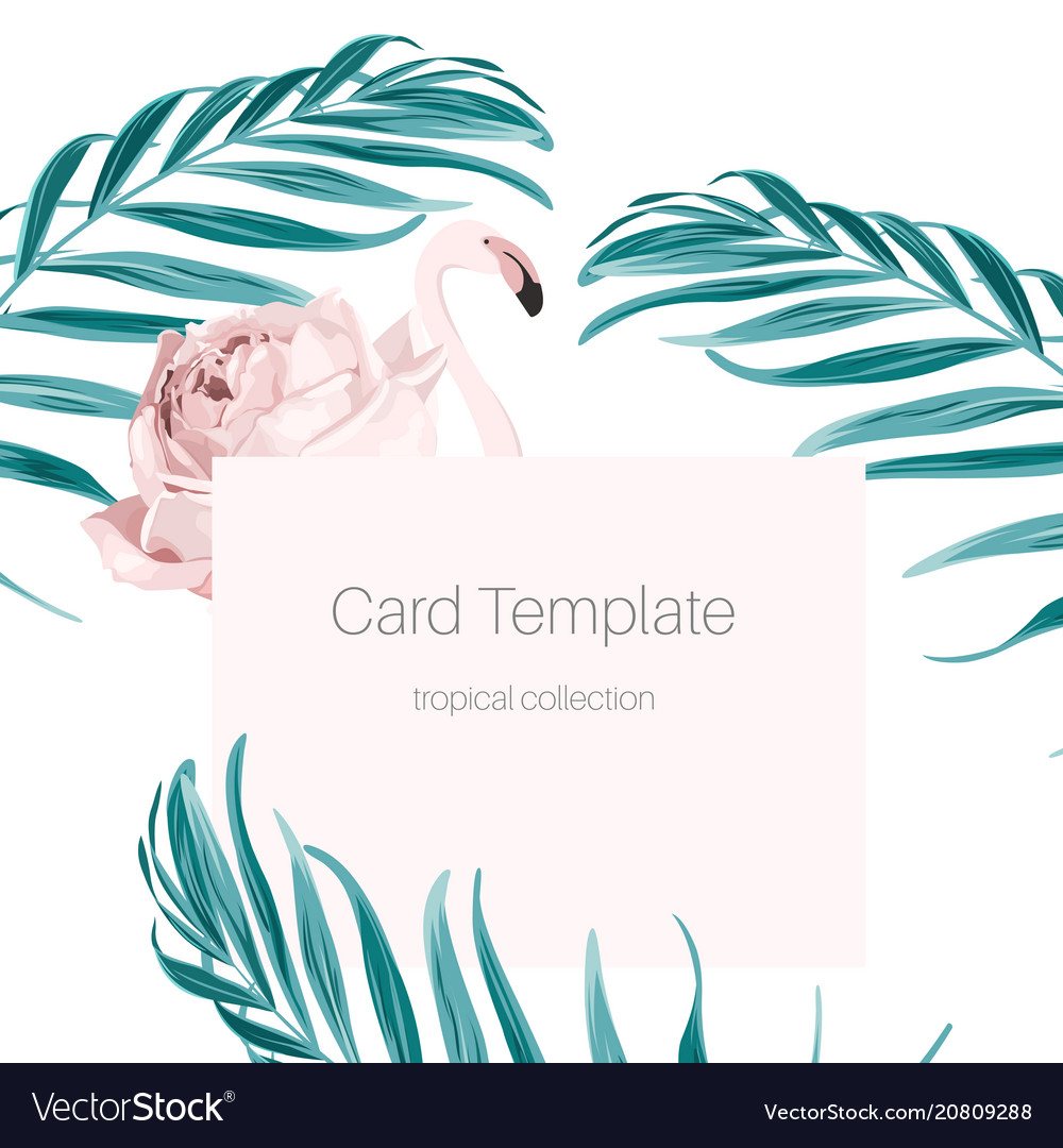 Tropical card pink flamingo rose hip palm leaves