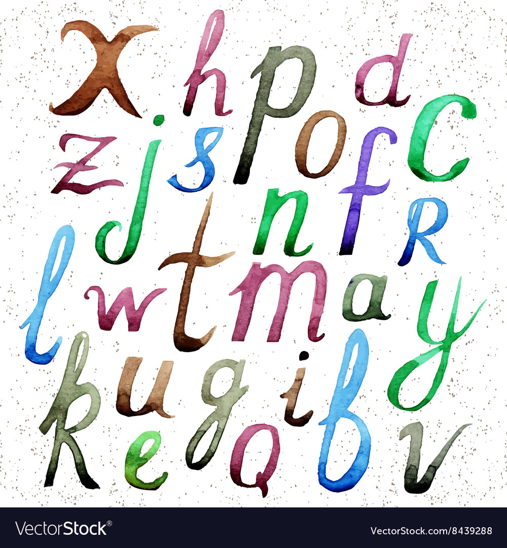 Watercolor alphabet hand drawn letters