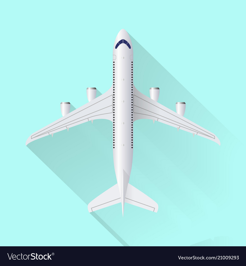 Airplane icon on blue background with shadow