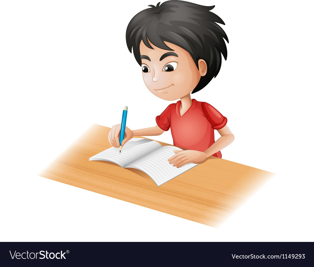 Cartoon boy sketching vector image
