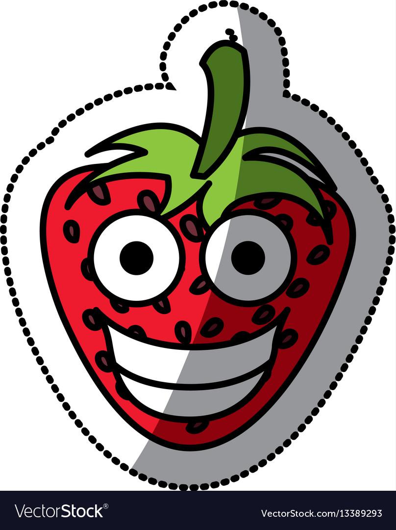 Colorful kawaii fruits strawberry happy icon