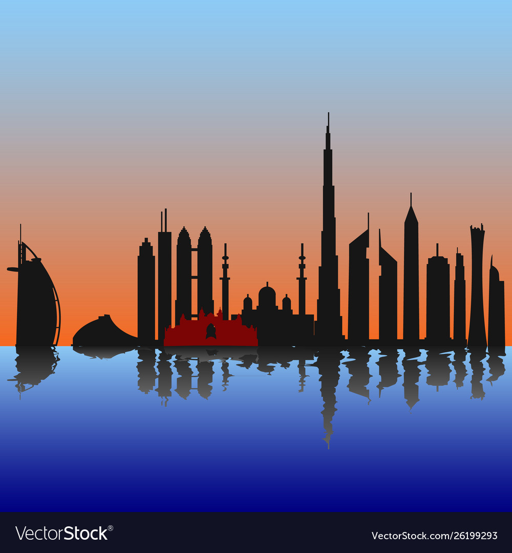 Dubai skyline at sunset sunrise with reflection