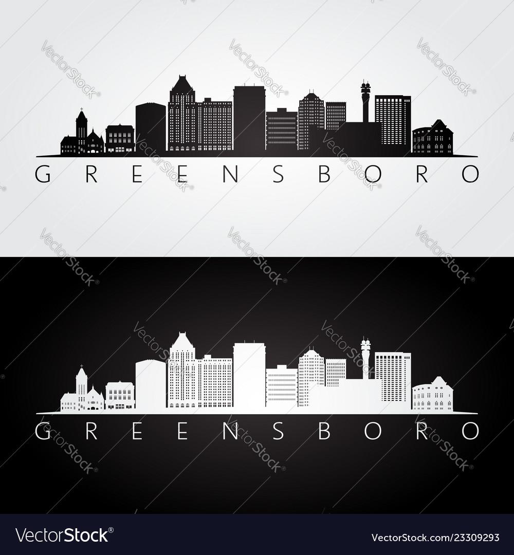 Greensboro usa skyline and landmarks silhouette