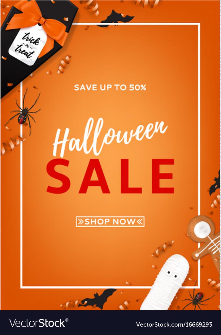 Halloween sale flyer vector image