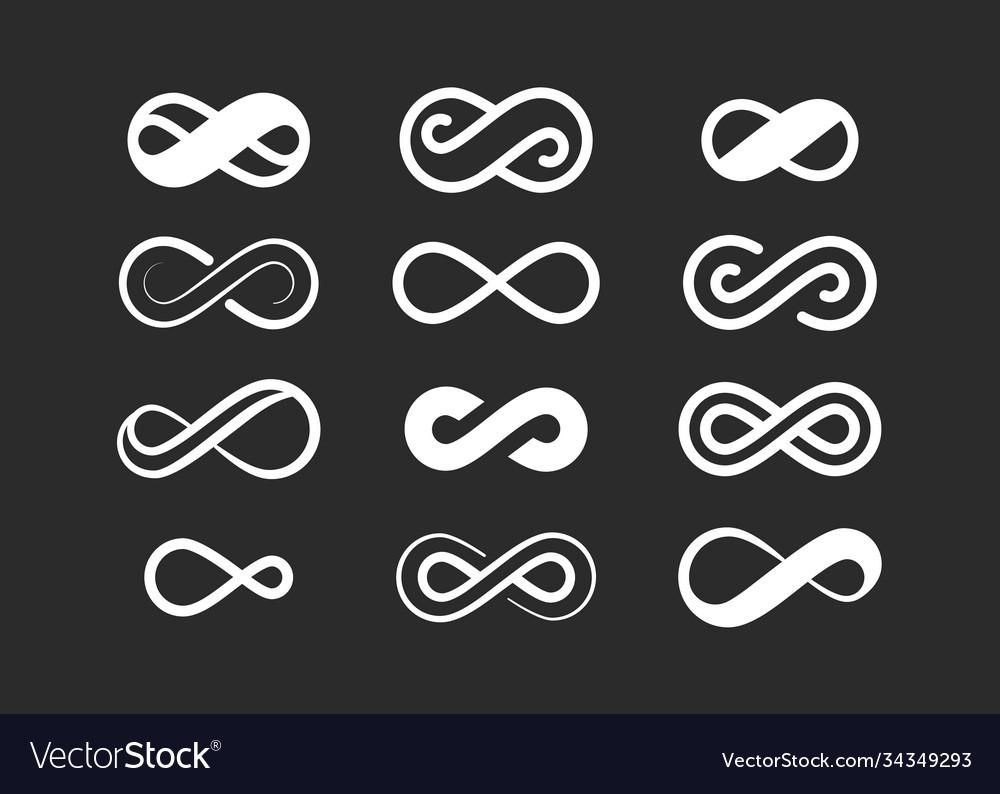 Infinity symbol set infinite space sign loop