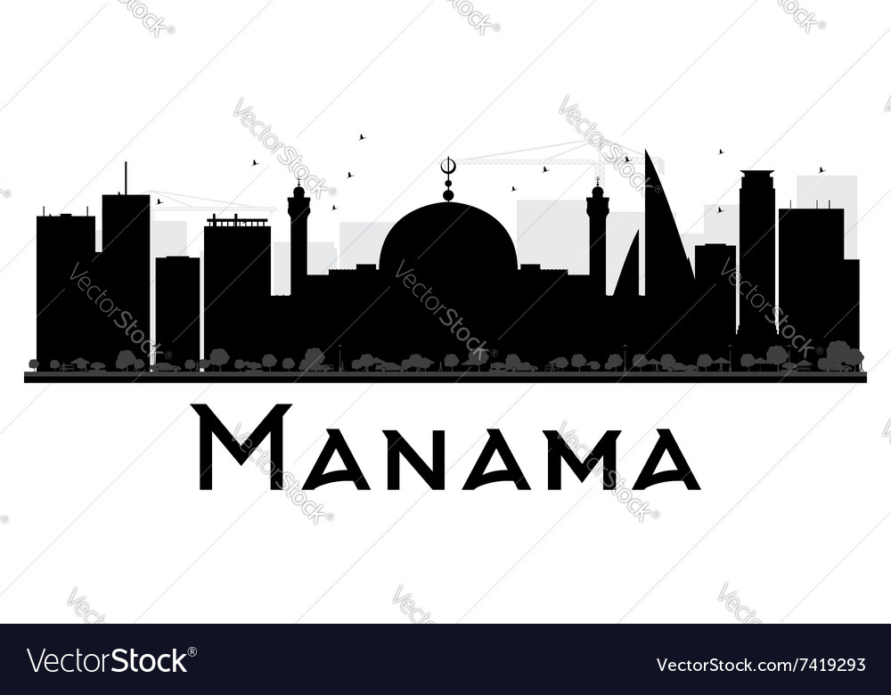 49584b9044f9 Manama City skyline black and white silhouette Vector Image