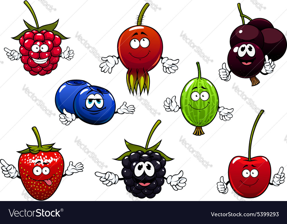 Sweet cartoon isolated berries characters