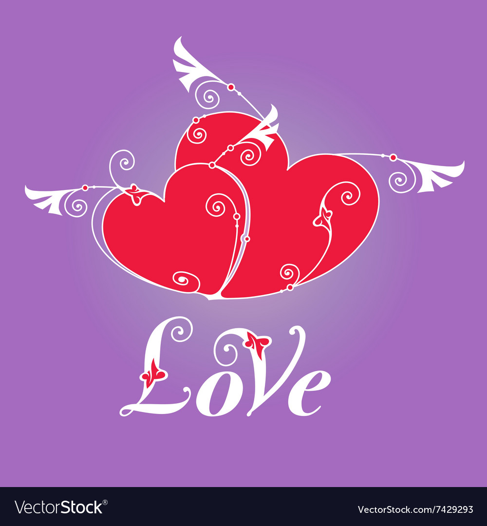 Two heart with wings for design template vector image