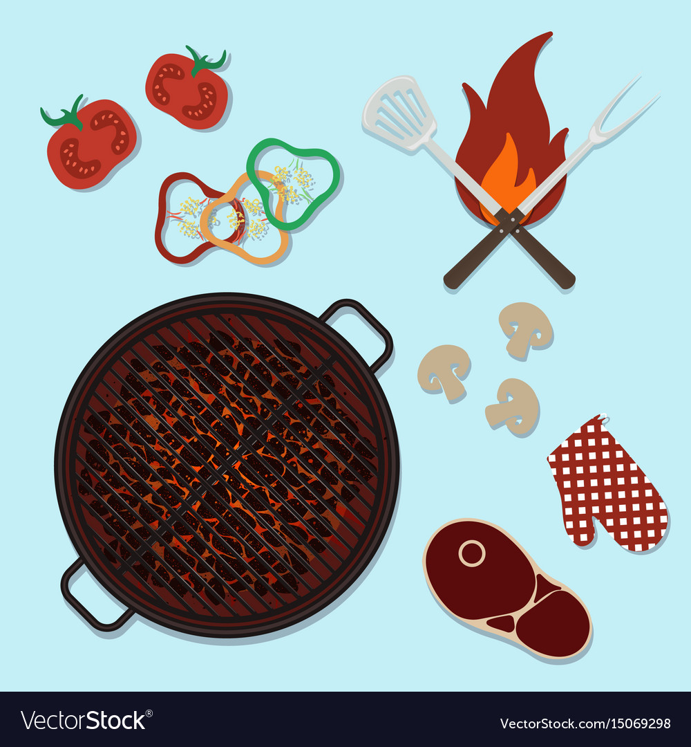 Bbq grill party top view cooking Royalty Free Vector Image