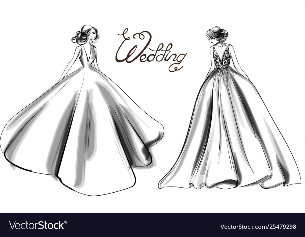 Bride silhouette line art beautiful long