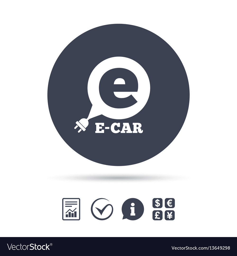 Electric car sign icon electric vehicle symbol vector image