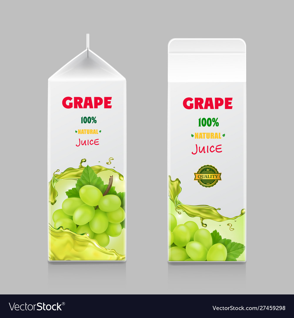Juice drink carton pack with white sweet grape